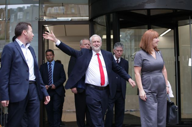 Jeremy Corbyn leaves Labour Party HQ in central London after he reiterated his call for Theresa May to...