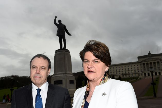 DUP leader Arelene Foster, right, and the party's Westminster leader Nigel Dodds, left, pictured in