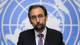New High Commissioner of the United Nations (UN) for Human Rights, Zeid Ra'ad al-Hussein of Jordan (C) attends a press conference on October 16, 2014 in Geneva. AFP PHOTO / FABRICE COFFRINI        (Photo credit should read FABRICE COFFRINI/AFP/Getty Images)