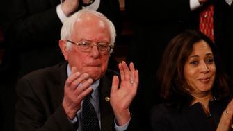 U.S. President Donald Trump addresses Joint Session of Congress - Washington, U.S. - 28/02/17 - Sen. Bernie Sanders applauds as U.S. President Donald Trump addresses the U.S. Congress. REUTERS/Kevin Lamarque
