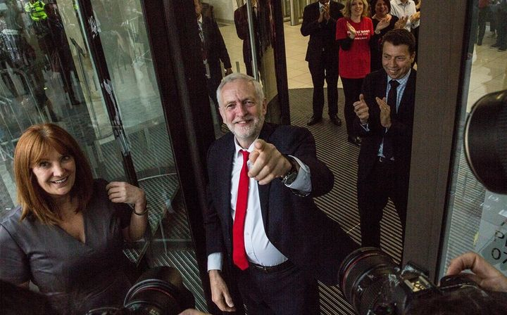 Jeremy Corbyn celebrates the unprecedented and surprising victories of the Labour party Friday morning at the party's headqua