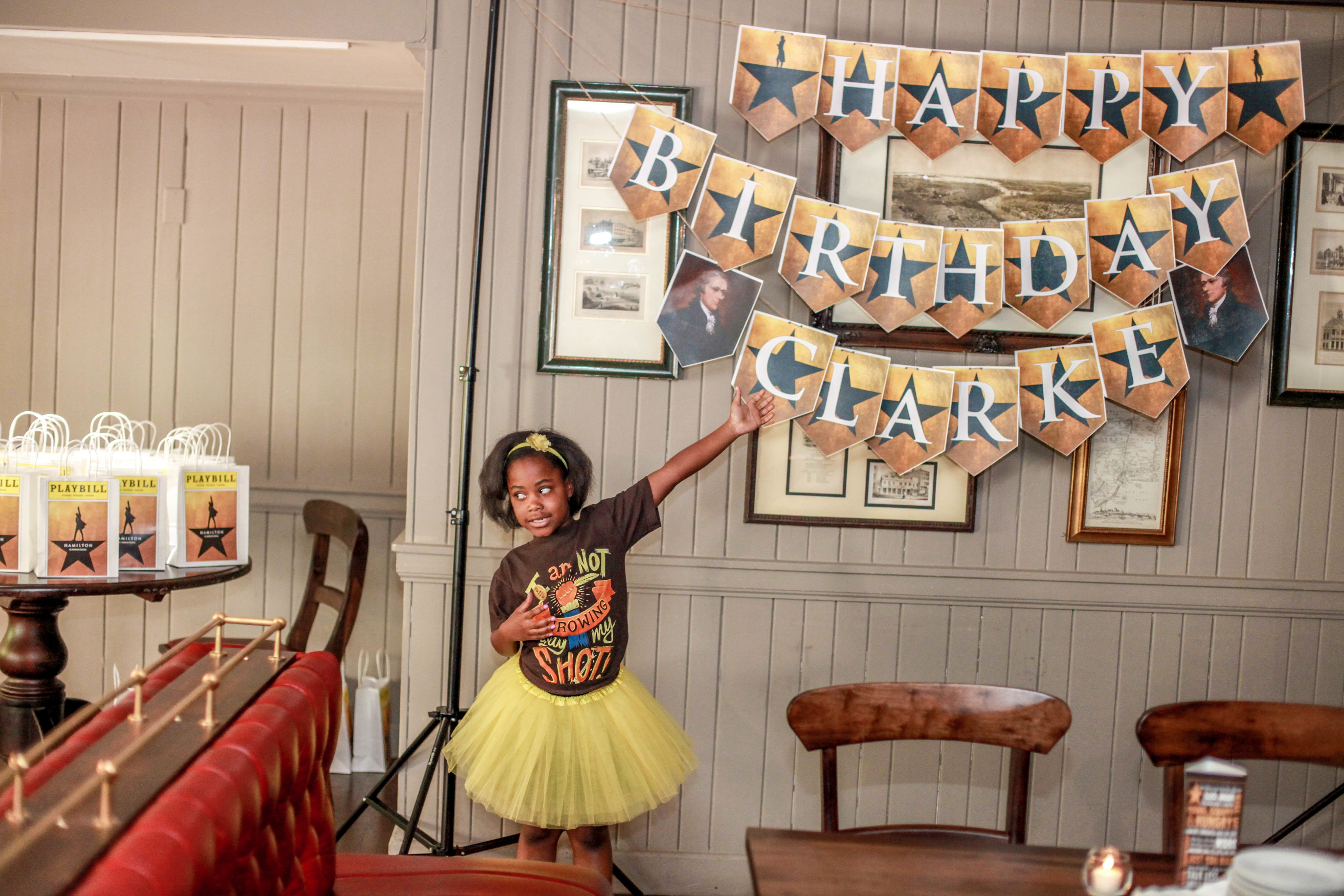 """Eight-year-old Clarke did not throw away her shot to have a """"Hamilton""""-themed birthday party."""