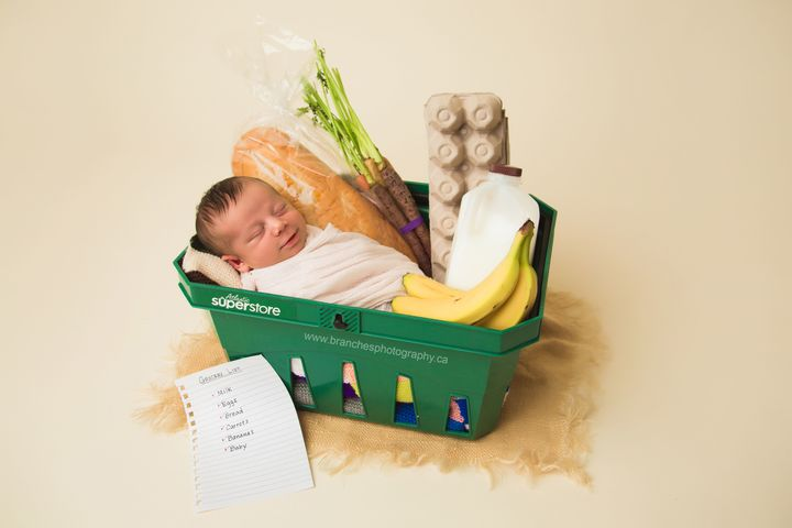 Naturally, the baby had a grocery store-themed newborn shoot.