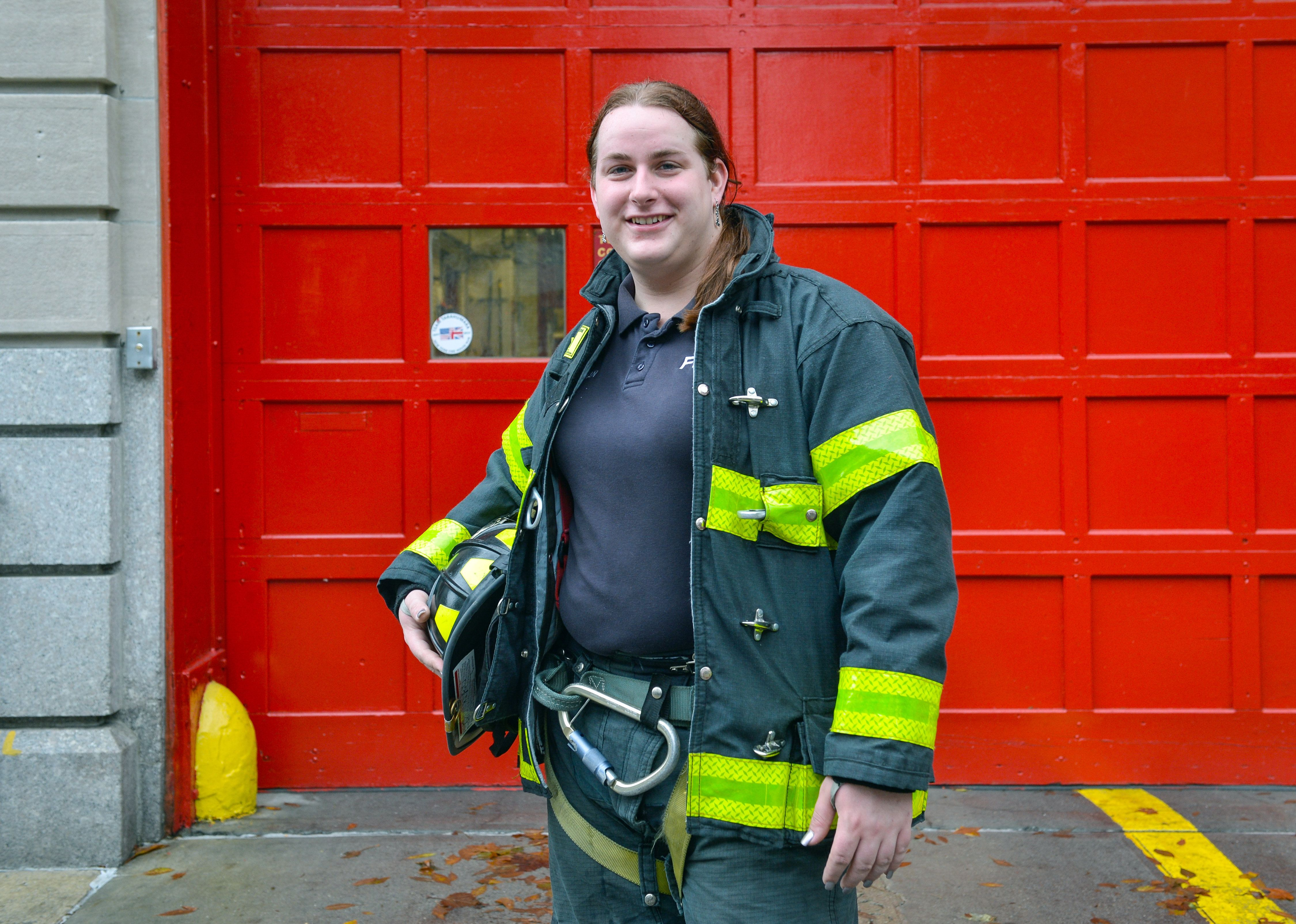 Brooke Guinan, the city's only transgender firefighter, is raising awareness for gay and transgender rights as poster child of social media campaign. Guinan. poses for photos in front of Engine 312, located at 22-63 35th Street in Astoria, Queens. (Photo By: Anthony DelMundo/NY Daily News via Getty Images)