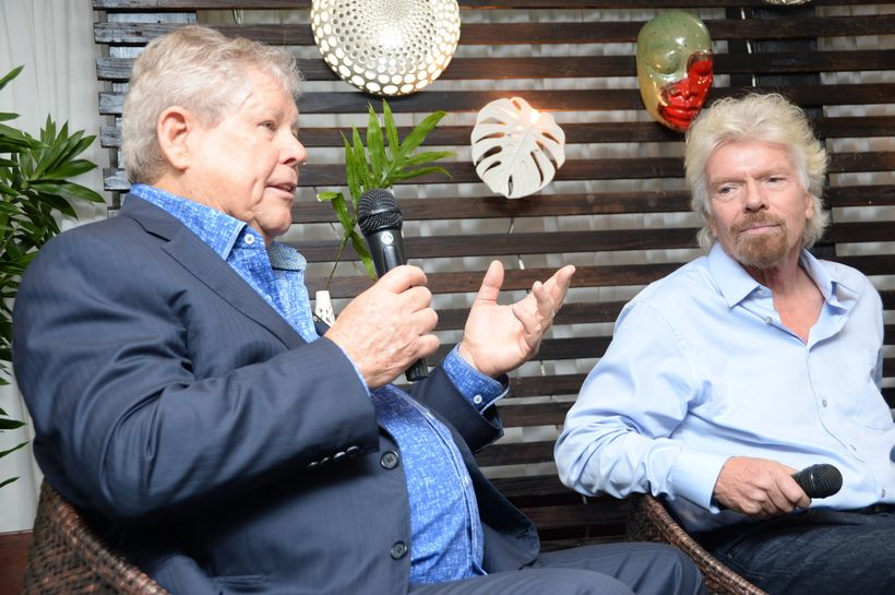 Gordon 'Butch' Stewart, Chairman of Sandals Resorts and Sir Richard Branson, Chairman of the Virgin Group at the recent launc