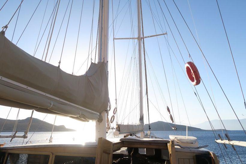 On board the Naviga I, a beautiful 90ft wood-built ketch