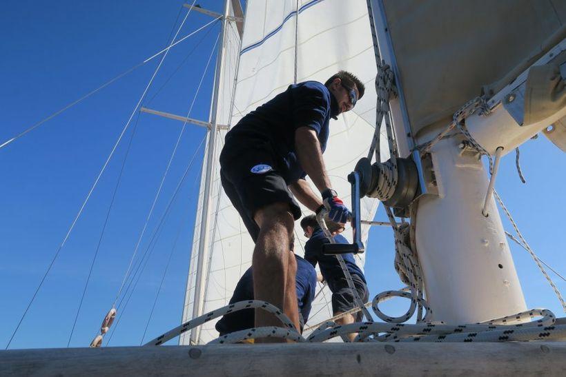 The crew raising the sails