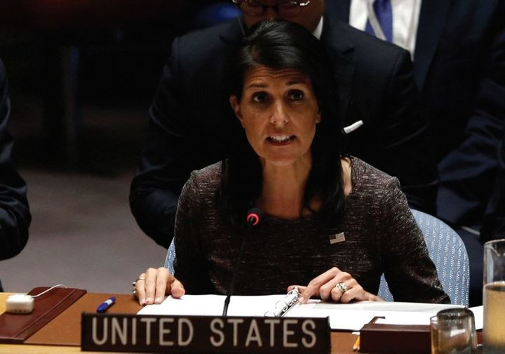 <em>US AMBASSADOR to the United Nations Nikki Haley speaks following a vote at the Security Council.</em>
