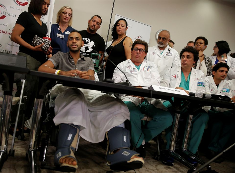 Gunshot survivor Angel Colon speaks at a news conference at the Orlando Regional Medical Center on the...