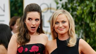 Golden Globes hosts Tina Fey and Amy Poehler pose at the 71st annual Golden Globe Awards in Beverly Hills, California January 12, 2014.  REUTERS/Danny Moloshok  (UNITED STATES - Tags: Entertainment)(GOLDENGLOBES-ARRIVALS)
