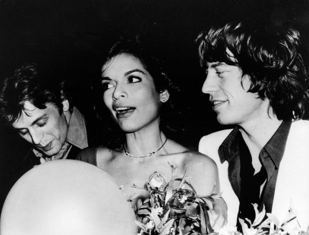 Mikhail Baryshnikov with Bianca and Mick Jagger at Studio 54.