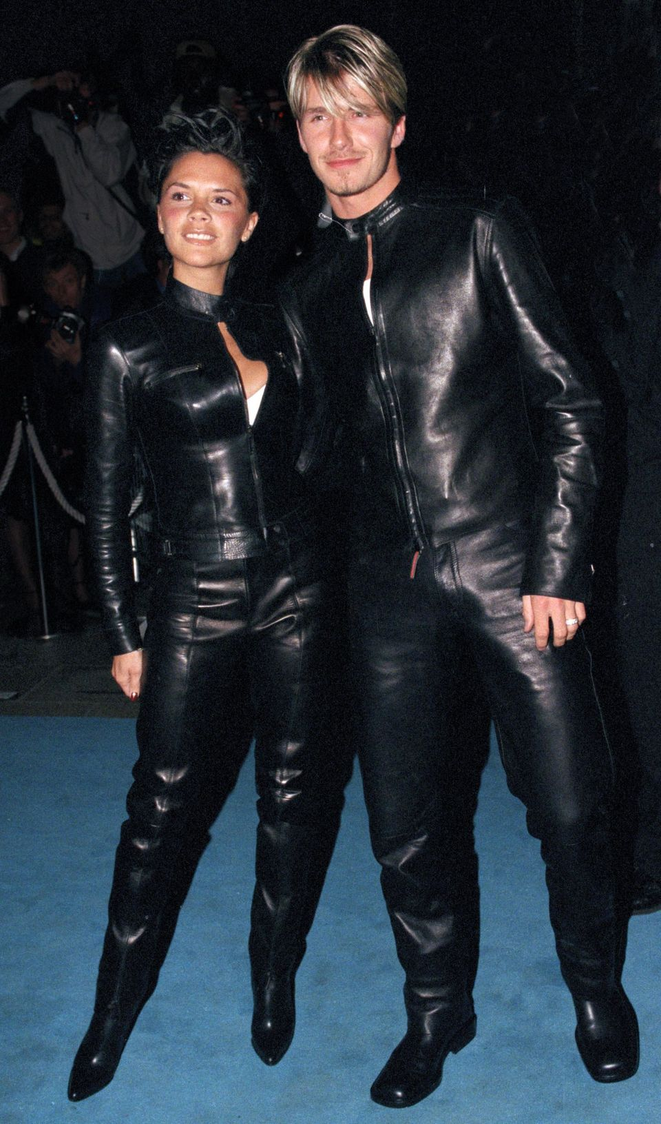 Posh and Becksdonned head-to-toe leather foraVersace gala in London in 1999.