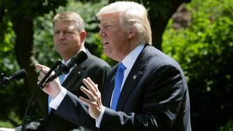 WASHINGTON, DC - JUNE 09:  U.S. President Donald Trump (R) and Romanian President Klaus Iohannis hold a joint news conference in the Rose Garden at the White House June 9, 2017 in Washington, DC. According to news reports, Iohannis said the meetings agenda was supposed to include talks on economic investment and security issues related to Russia.  (Photo by Alex Wong/Getty Images)