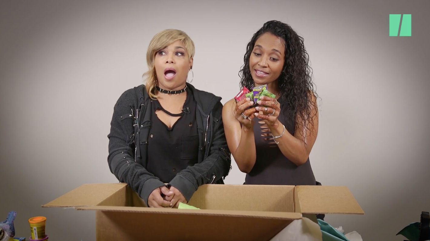 TLCs T-Boz and Chilli open HuffPosts mystery box