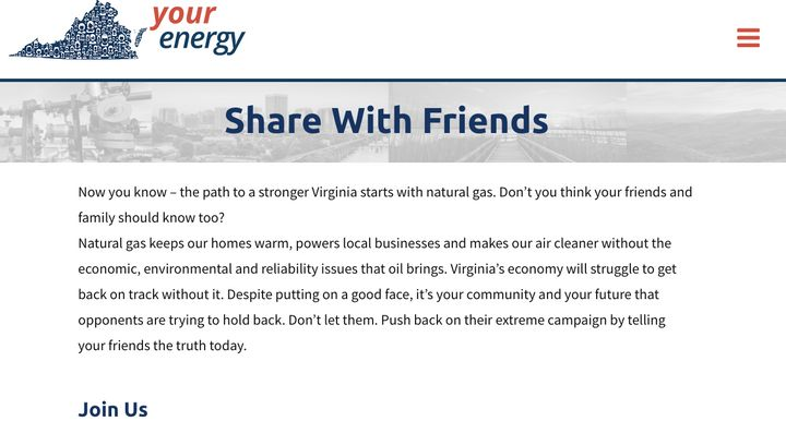 """Your Energy Virginia calls on visitors to push back against its opponents' """"extreme campaign by telling your friends the trut"""