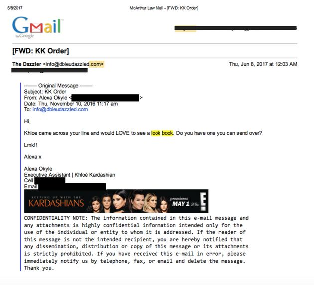 This alleged e-mail from Kardashian's assistant dates back to