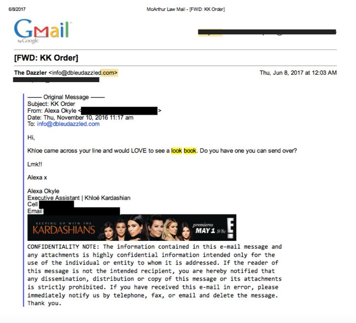 This allegede-mail from Kardashian's assistantdates back to 2016.