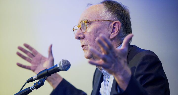 Jack Dangermond, president and founder of Esri Inc., speaks during a panel discussion at the ETS17 conference in Austin, Texa