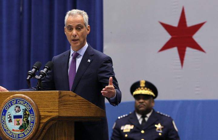 Chicago Mayor Rahm Emanuel delivers a speech on the city's surge in violence as Police Supt. Eddie Johnson listens