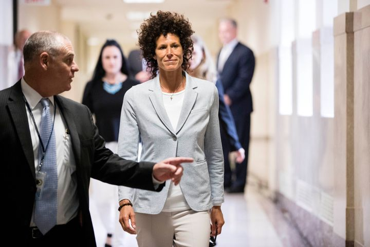 Accuser Andrea Constand walks to the courtroom during Bill Cosby's sexual assault trial at the Montgomery County Courthouse i