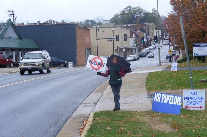 Nancy Beall protests the proposed Atlantic Coast Pipeline in the Shenandoah Valley town of Waynesboro, Virginia, in November