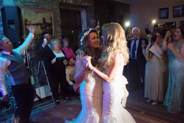 The beautiful brides during the first dance.