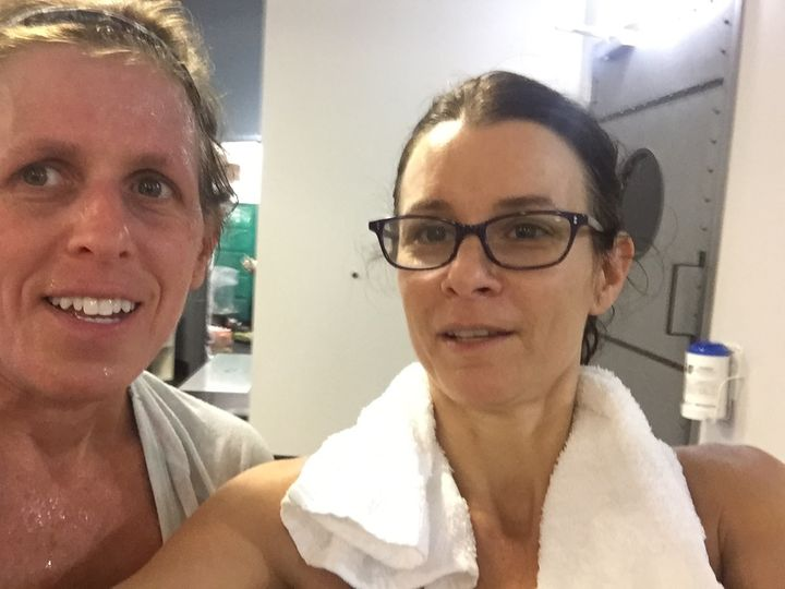 <p>Lianne (No Nut Traveler) and Karen (new food allergy mom) post spin class. <strong><em>Another allergy mom to add to the club.  We don't recruit yet are growing in numbers.</em></strong></p>