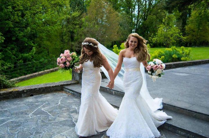 The brides were all smiles.
