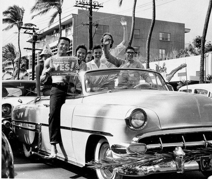 Celebrating Hawaii's statehood in Waikiki, Honolulu, on March 13, 1959. Hawaii became the 50th state on Aug. 21, 1959.
