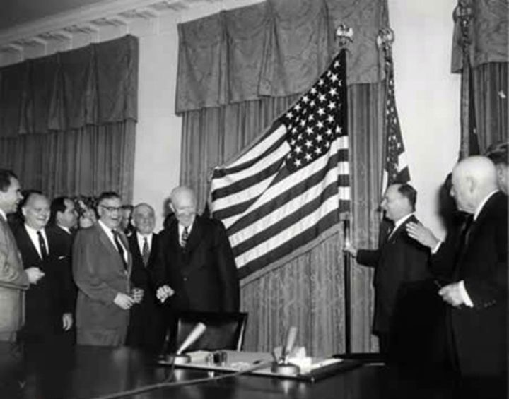 President Dwight Eisenhower at the unfurling of the 49-star flag on Jan. 3, 1959, the day Alaska became a state. Ike would ha