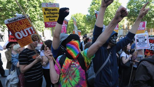 With Pro-Corbyn Chants, Protestors Take Aim At The 'Racist, Sexist, Anti-Gay'