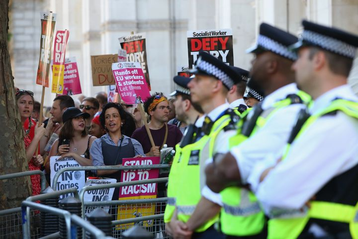 Police kept protestors and the public safe on Saturday as they demonstrated at the centre of Westminster, central London