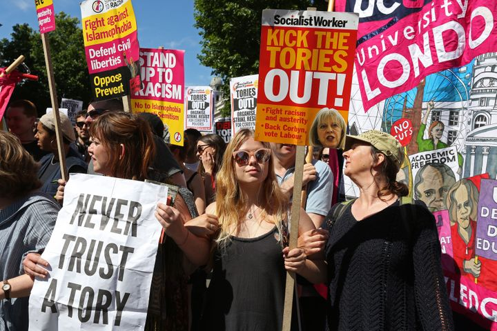 Young women turn out to protest the possible Tory-DUP deal on Saturday