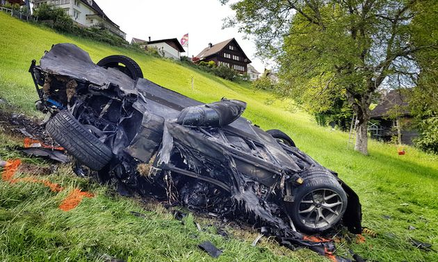 Richard Hammond was extremely lucky to walk away from this crash in Switzerland