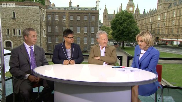 Schama, second right, appeared on a special edition of BBC Newsnight on Saturday, alongside former Ukip...