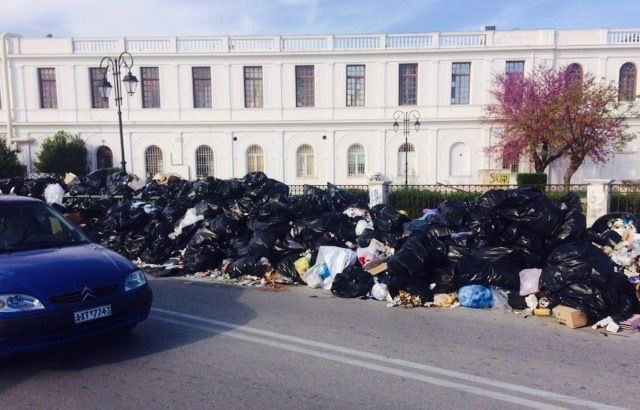 Garbage piling up in the town of Zakynthos, on Zakynthos Island