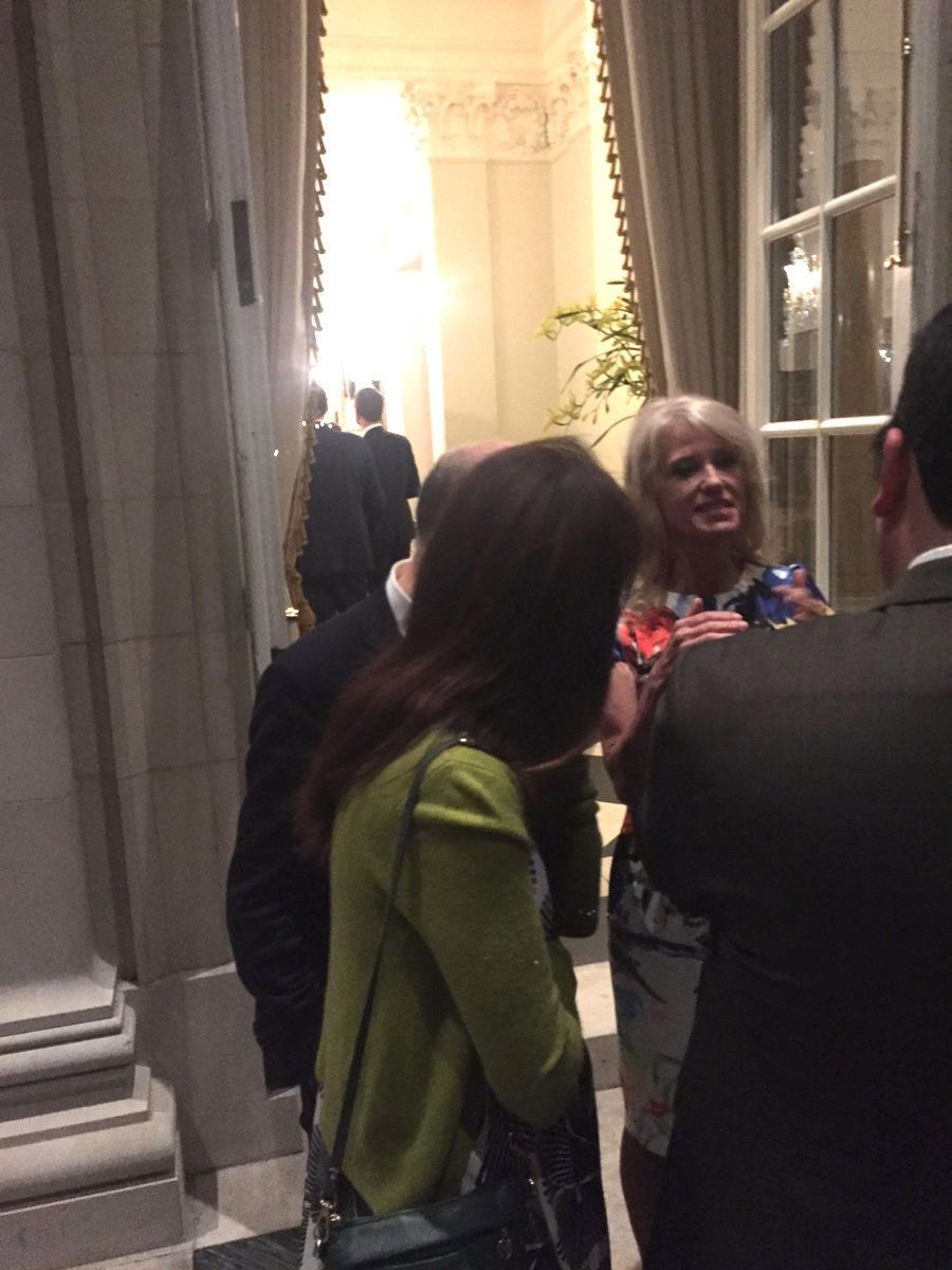 Chief White House Counsel Kellyanne Conway is photographed at a Washington embassy party