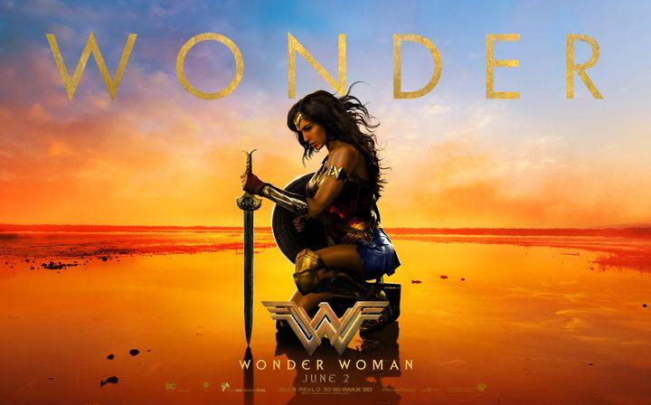 Wonder Woman, fighting evil in wedge heels.