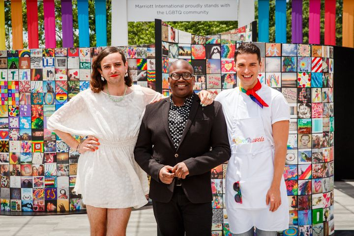 <em>Jacob Tobia, Tituss Burgess, Raymond Braun at the brand new </em><strong>#LoveTravels Mosaic</strong> in D.C.'s Freedom P