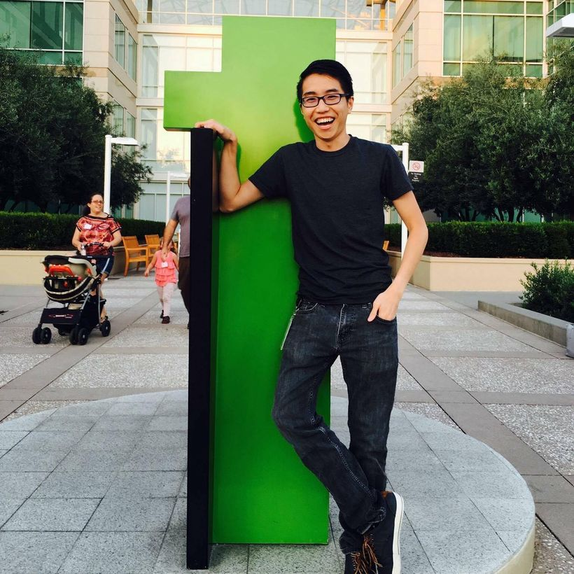 Tai stands outside Apple HQ. located at 1 Infinite Loop in Cupertino, California.