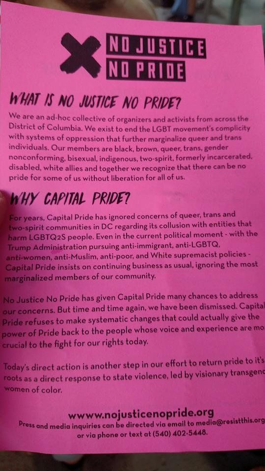 A flyer from No Justice No Pride handed out at the Capital Pride Parade.