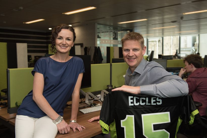 Co-founders Lesley Eccles and her husband, Nigel, at FanDuel HQ