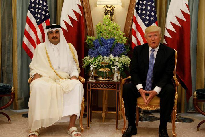 Qatar's Emir Sheikh Tamim Bin Hamad Al-Thani meets with U.S. President Donald Trump in Riyadh, Saudi Arabia, May 21, 20