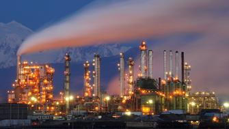 Tesoro Oil Refinery, Anacortes, Washington State, USA: dusk, January 20, 2015