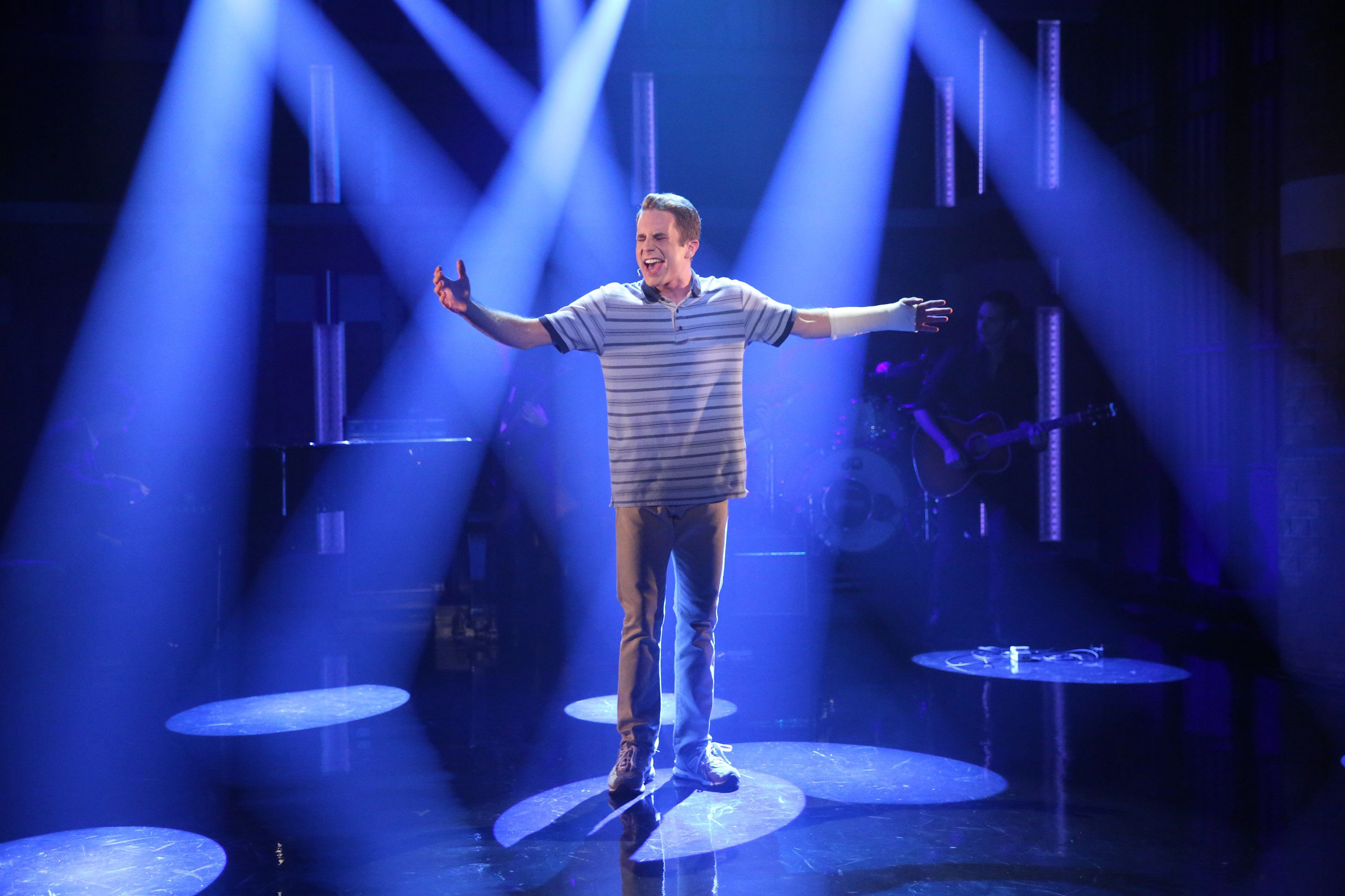 "Ben Platt during a performance of the musical ""Dear Evan Hansen."""