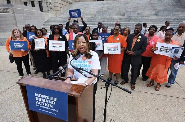 Ms. McBath speaking in Mississippi with Moms Demand Action volunteers.