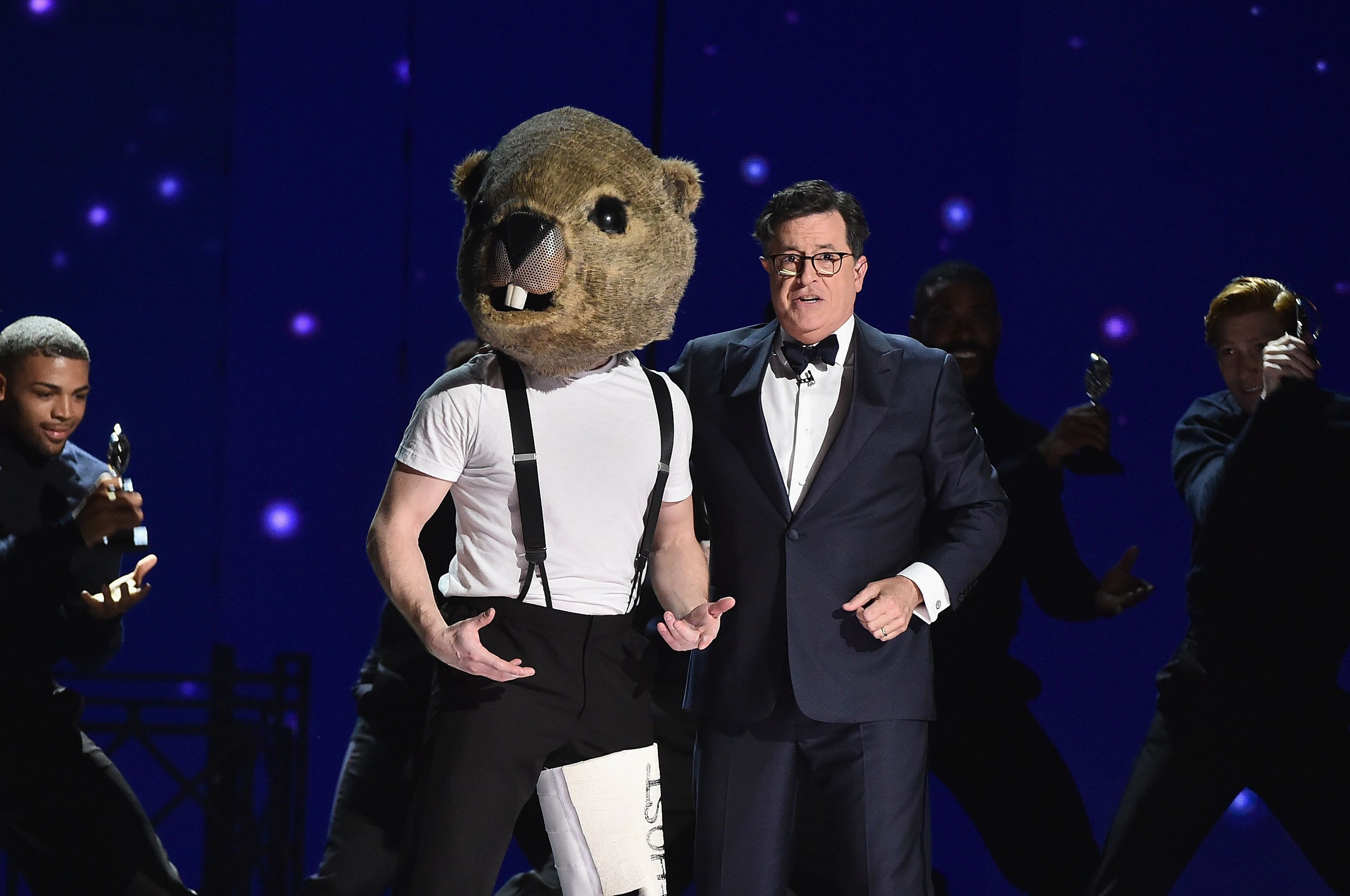 NEW YORK, NY - JUNE 11:  Stephen Colbert performs onstage during the 2017 Tony Awards at Radio City Music Hall on June 11, 2017 in New York City.  (Photo by Theo Wargo/Getty Images for Tony Awards Productions)