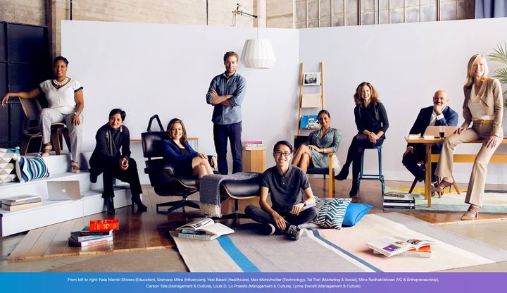 <p>Tai Tran is pictured here sitting down with a group of other honorees of the LinkedIn Top Voices List.</p>