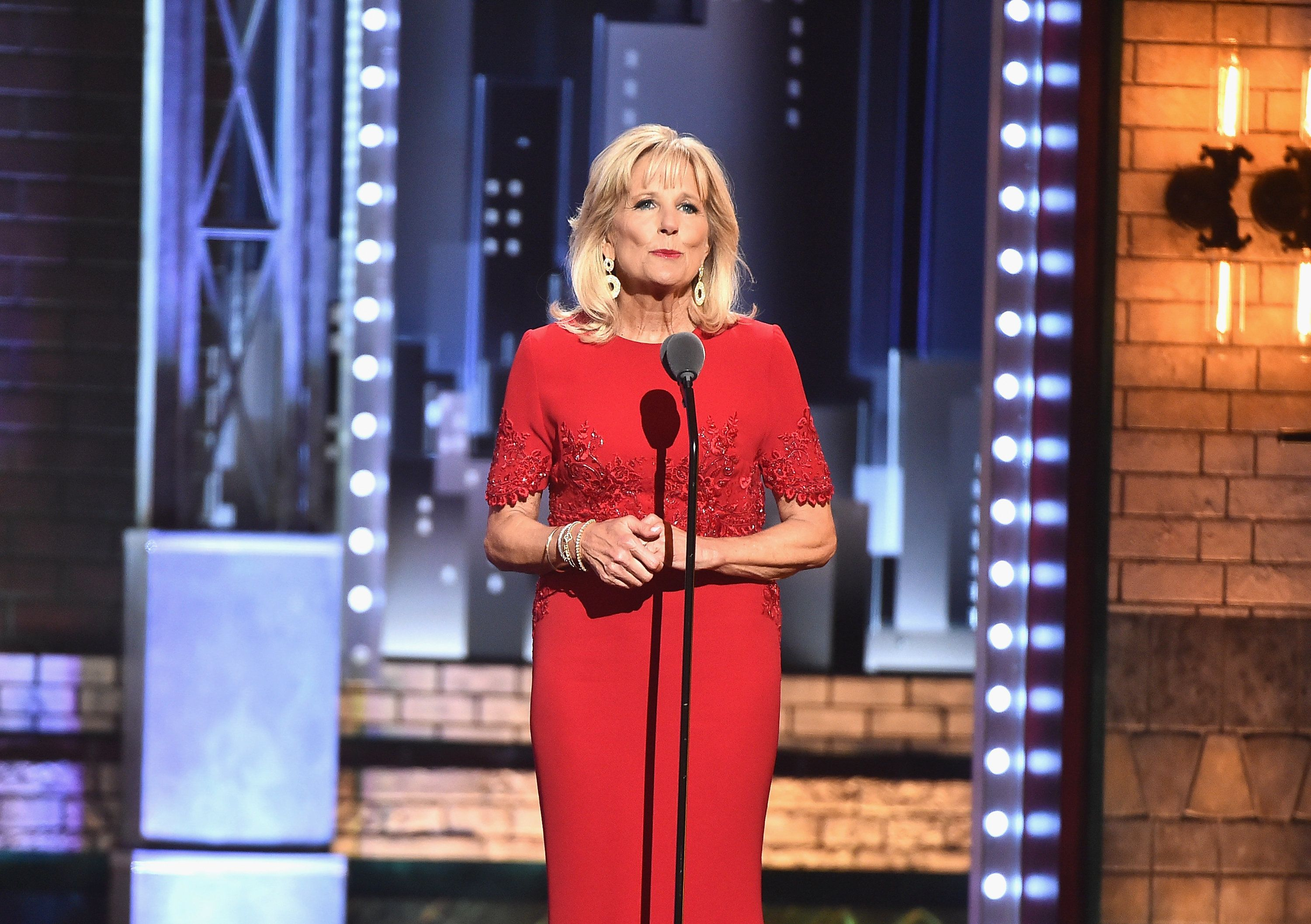NEW YORK, NY - JUNE 11:  Jill Biden speaks onstage during the 2017 Tony Awards at Radio City Music Hall on June 11, 2017 in New York City.  (Photo by Theo Wargo/Getty Images for Tony Awards Productions)