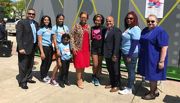 From left: Councilman Luis A. Lopez, representatives from Camden-based dance troupe, Dare 2 Dance; Mayor Dana L. Redd; Sharic
